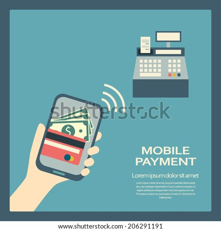 Mobile payment concept with a symbol of credit card on smartphone. NFC technology. Eps10 vector illustration. - stock vector