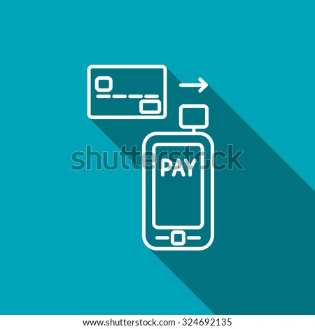 Mobile payment. Credit card reader on smartphone scanning a credit card - stock vector