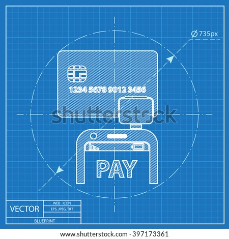 Mobile payment. Credit card reader on smartphone scanning a credit card vector blueprint icon - stock vector