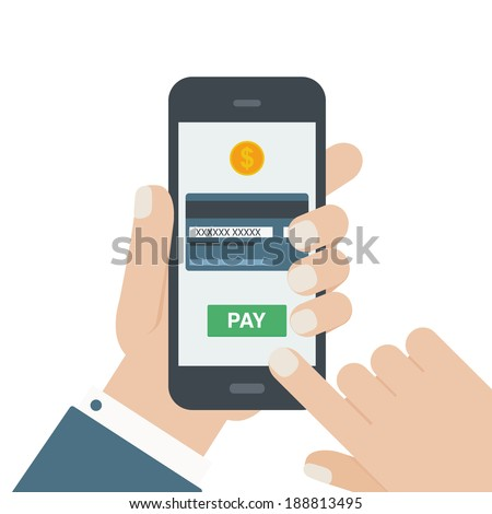 mobile payment flat design hand isolated background - stock vector