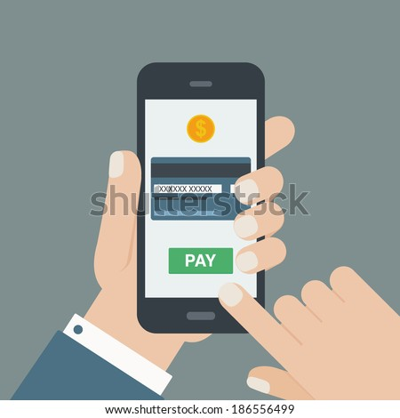 mobile payment, hand holding phone, flat design - stock vector