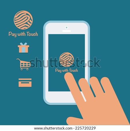 Mobile payment in security mode concept.  - stock vector