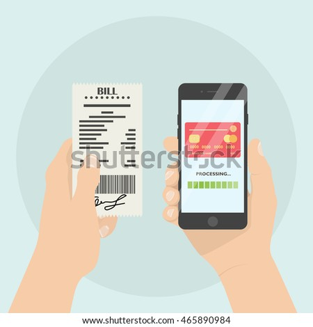 mobile payment bill receipt pay online stock vector royalty free