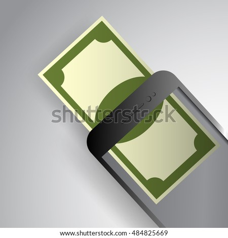 Mobile payment paper art style vector illustration