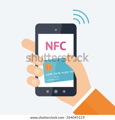 Mobile payment processing concept. Hand holding modern smartphone with credit card on the screen and NFC radio wave outside. Near field communication technology. Vector flat illustration - stock vector
