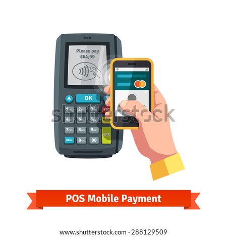 Mobile payment trough POS. Hand holding smartphone with pay app near terminal. Flat vector icon. - stock vector