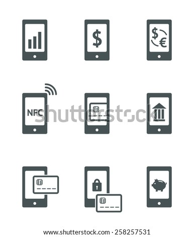 Mobile payment vector icons set. NFC, mobile banking and other sign in smartphone. Vector linear illustration - stock vector