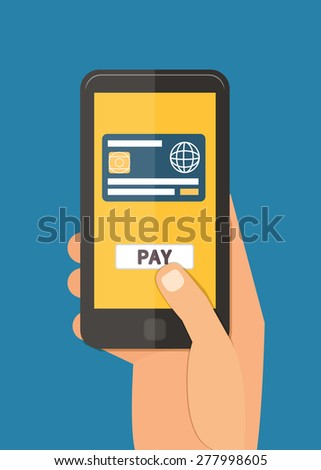 Mobile payment via smartphone, online banking shopping and e-commerce. Flat design vector. - stock vector