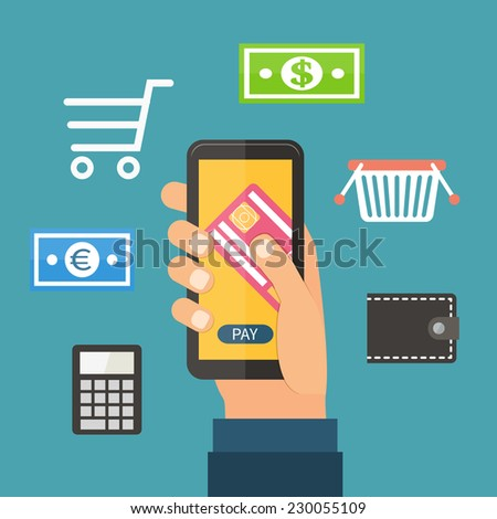 Mobile payment via smartphone, online banking, shopping, wallet, e-commerce. Flat design vector. - stock vector