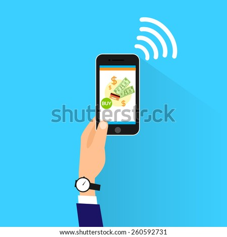 mobile payment with cell smart phone nfc technology vector illustration - stock vector