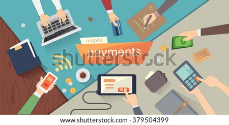 mobile payments and bank vector illustration. Mobile payments or bank and communication overhead. Mobile payment, bank icon set. above desk or design bank - stock vector