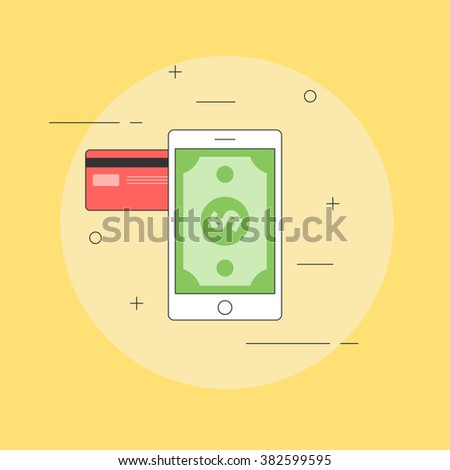 Mobile payments concept. Money on your mobile phone. Mobile banking, transferring money from credit card. Vector illustration in flat line style to design a website or print - stock vector