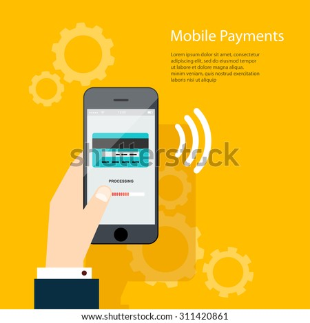 Mobile Payments. Man holding phone. Vector illustration of modern smartphone with processing of mobile payments from credit card on the screen. - stock vector