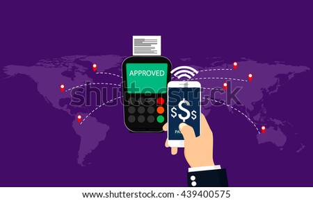 Mobile payments, pos terminal confirms the payment by smartphone around world. Near Field Communication payments concept - stock vector