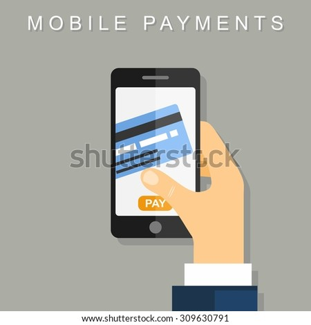 Mobile payments. Vector illustration Flat design