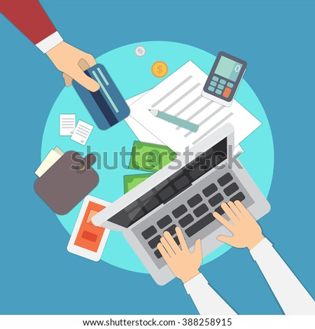 Mobile payments vector illustration. Mobile bank concept. Online safe payments.Internet banking and nfc technology. Concept of online payment options.Overhead view with hands. - stock vector