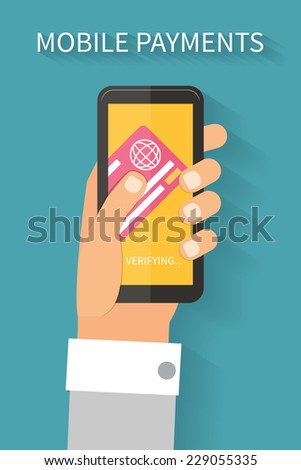 Mobile payments via smartphone and credit card, online banking. Flat design vector. - stock vector