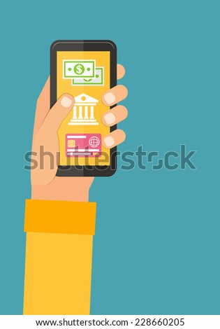 Mobile payments via smartphone, online banking. Flat design vector. - stock vector