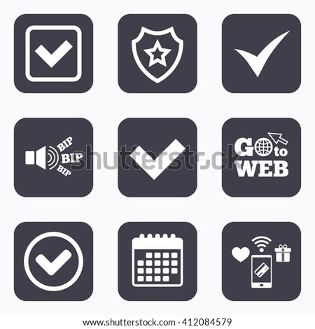 Mobile payments, wifi and calendar icons. Check icons. Checkbox confirm circle sign symbols. Go to web symbol. - stock vector