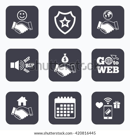 Mobile payments, wifi and calendar icons. Handshake icons. World, Smile happy face and house building symbol. Dollar cash money bag. Amicable agreement. Go to web symbol. - stock vector