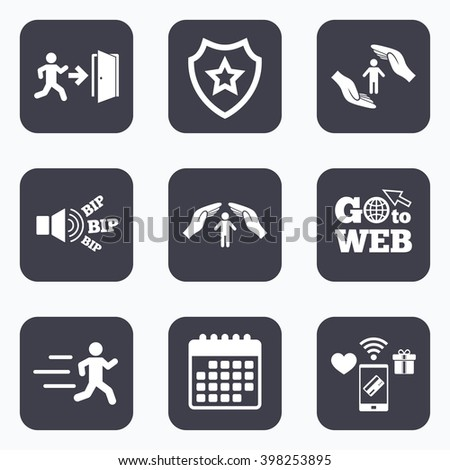 Mobile payments, wifi and calendar icons. Life insurance hands protection icon. Human running symbol. Emergency exit with arrow sign. Go to web symbol. - stock vector