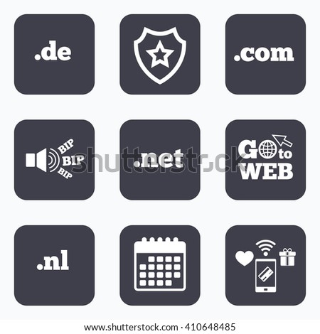 Mobile payments, wifi and calendar icons. Top-level internet domain icons. De, Com, Net and Nl symbols. Unique national DNS names. Go to web symbol. - stock vector