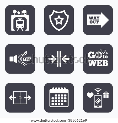 Mobile payments, wifi and calendar icons. Underground metro train icon. Automatic door symbol. Way out arrow sign. Go to web symbol. - stock vector