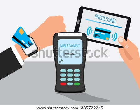 Mobile payments with smart watch and smartphone concept of communication technology - stock vector
