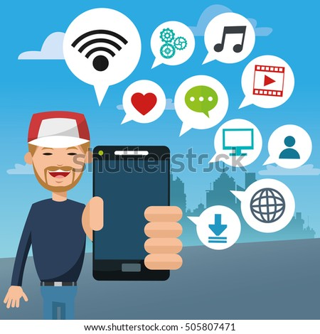 Mobile people cartoon design