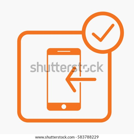 Mobile Phone and Arrow Icon. Orange Color on White Background. Flat Isolated