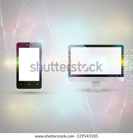 Mobile phone and computer communicating on abstract background - stock vector