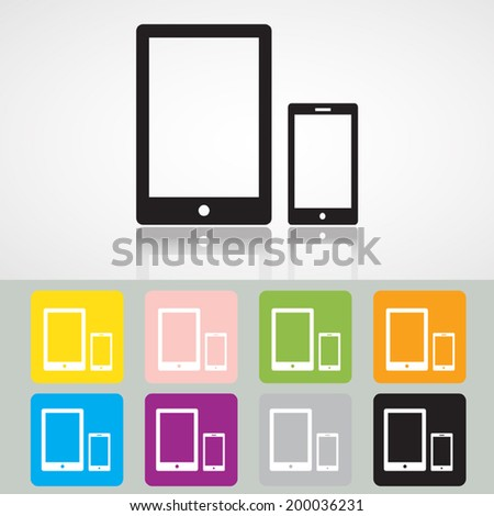 Mobile phone and digital tablet icon, Vector EPS 10. - stock vector