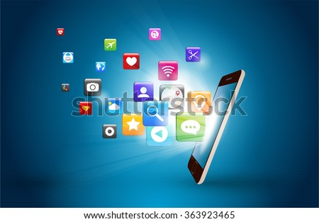 mobile phone and icons media technology vector design - stock vector