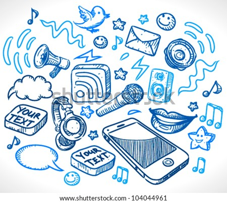 Mobile phone and many details(lips,rss,icons,speakers,sheets,microphone,headphones) - sketch style vector illustration for your business presentations - stock vector