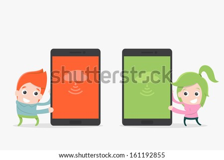 mobile phone and smiling cartoon, vector - stock vector