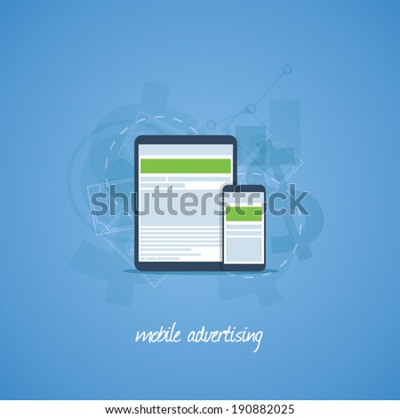 Mobile phone and tablet marketing and advertising vector concept - stock vector