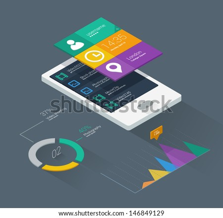 Mobile phone application for analytics. User interface with infographics with charts and graphs in flat design. - stock vector