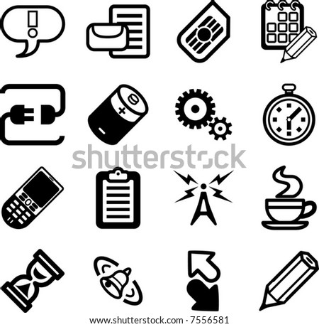 Mobile Phone Applications GUI Icon Series Set.  A vector Mobile Phone Applications GUI Icon Series Set - stock vector