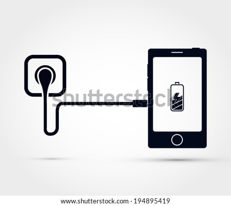 Mobile phone charging vector illustration - stock vector