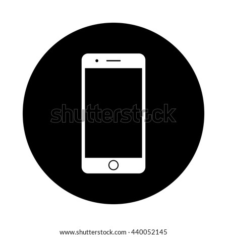 stock-vector-mobile-phone-circle-icon-black-round-icon-isolated-on ... Iphone Silhouette Icon