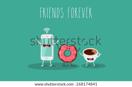 Mobile phone, coffee and donut  illustration. Vector cartoon. Friends forever. Comic characters. - stock vector