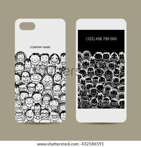Mobile phone cover design. People crowd. Vector illustration - stock vector