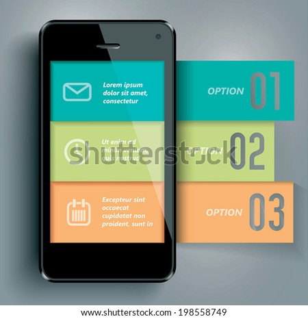 Mobile phone data options. Vector illustration. - stock vector