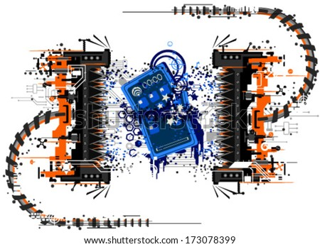 Mobile phone device crushed by press, symbolic abstract cartoon, vector, isolated  - stock vector