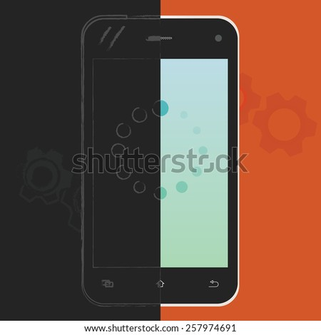 Mobile phone, from sketch to finish vector illustration. Phone design process concept. - stock vector