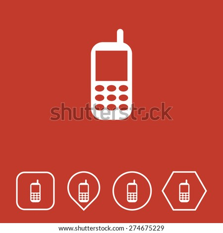 Mobile Phone Icon on Flat UI Colors with Different Shapes. Eps-10. - stock vector