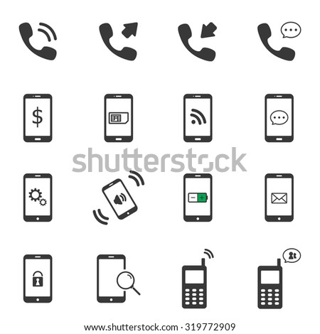 Mobile phone icon sets vector symbol. - stock vector