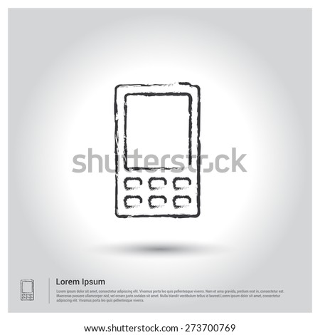 mobile phone icon, Sketch Doodle pictogram icon on gray background. Vector illustration - stock vector