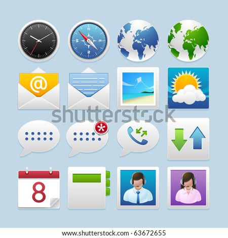 mobile phone icons : connection set - stock vector