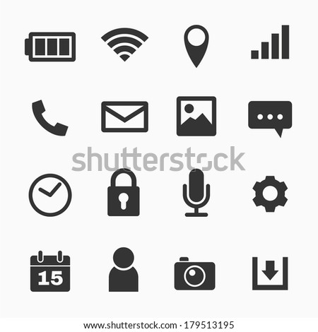 Mobile phone icons set - stock vector